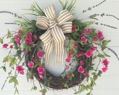 Valentines Wreath, Spring Wreath, Easter Wreath, Summer Wreath, Everyday Wreath, Front Door Wreath, Cottage Wreath, Roses Wreath