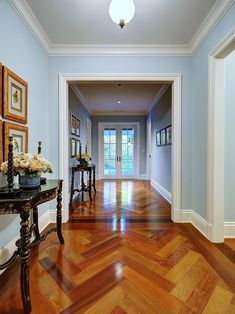 Herringbone Tile/ Wood In Foyer Hall Pass   Traditional   Hall   Miami    Tuthill Architecture