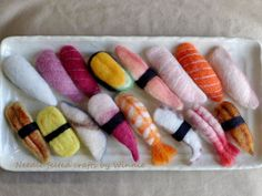Made to order Needle felted assorted sushi each by FunFeltByWinnie Cute Crafts, Felt Crafts, Crafts For Kids, Arts And Crafts, Wet Felting, Needle Felting, Felt Cake, Food Sculpture, Felt Food