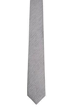 Notch Men's Slim Necktie MOLHEM – Tightly woven, thin grey stripes on grey base