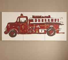 I love the Fire Truck Triptych Art on potterybarnkids.com just wish it were a 5 and not 9