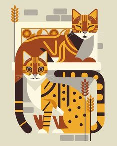 This was a private commission from last year. Meet the cats Tikka and Kato Graphic Design Illustration, Art And Illustration, Graphic Art, Cat Illustrations, Animal Graphic, Photo Chat, Arte Popular, Vintage Cat, Cat Drawing
