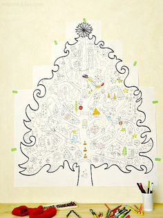 original and free printable Christmas coloring pages for kids and this year we're really excited about our new gigantic wall hanging Christmas tree coloring page Christmas Tree Tumblr, Colorful Christmas Tree, Diy Christmas Tree, Christmas Love, Christmas Colors, Christmas Holidays, Christmas Ideas, Xmas Tree, Christmas Tree Coloring Page