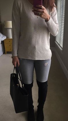 09b89cb2053  fall  outfits women s white long-sleeve shirt and gray pants with black  thigh