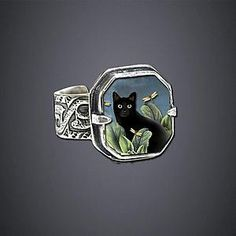 Black Cat Ring  paper image covered with beveled plastic polycarboate, Dawn Estrin