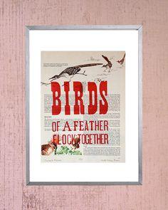 Birds Letterpress Print by WizWenry on Etsy, $25.00