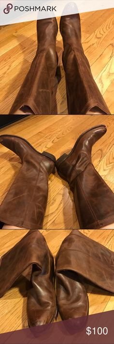 Frye Boots If you like a boot that looks worn in then these are for you. A good leather cleaner would make a big difference. These boots are really nice great quality  please ask questions about them   They say size 8 I am a 7 and tried them on and have room inside Frye Shoes Over the Knee Boots