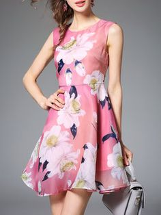 Pink Floral-print Floral Sleeveless Mini Dress
