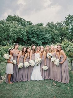 The mauve colored bridesmaid dresses look gorgeous in this vineyard wedding! Photographer: Tracy Enoch Photography