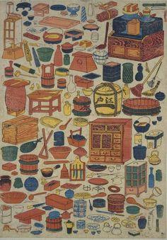 Japanese Edo period home furnishings print