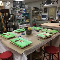 We're all set up for the custom stencil class! #916 #thetreasuredhome