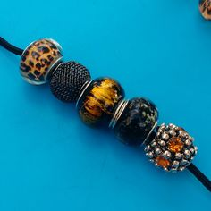 5 Pcs Lots Of These Brown And Black Mixed European Beads Now Available In My