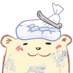 氷嚢を頭にのせたシロクマ イラスト