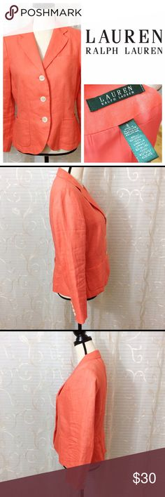 "Lauren Ralph Lauren Coral Linen Blazer Beautiful, bright blazer! Shoulders lightly padded.  Bust ~40"" Waist ~35"" Sleeve 22"" Length 23""  Shell 100% Linen Lining 100% Acetate  Thank you for looking!  Clothing items are stored sealed from dust and other environmental factors and may require pressing or steaming upon arrival Lauren Ralph Lauren Jackets & Coats Blazers"