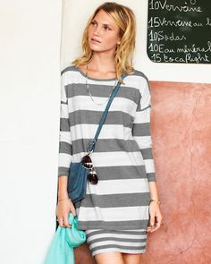 Double-Layer Knit Dress - looks like a t-shirt and skirt. Styled back to blush pink ballet flats and pops of blue. Lovely!