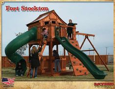 Playsets for Kids-Playgrounds-Redwood Play Sets Backyard Playground, Backyard For Kids, Playground Ideas, Fort Stockton, Wooden Playset, Play Equipment, Outdoor Play, Play Houses, Play Sets