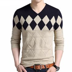 It's possible that this would make me look like a court jester. (COODRONY Cashmere Wool Sweater Men 2017 Autumn Winter Slim Fit Pullovers Men Argyle Pattern V-Neck Pull Homme Christmas Sweaters Knitted Jacket Mens, Merino Wool Sweater Mens, Sweater Hoodie Mens, Knit Jacket, Cashmere Wool, Sweatshirt, Mens Pullover, Casual Sweaters, Cool Sweaters