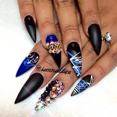 Black and royal blue stilettos