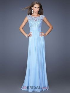 Ethereal Beading Applique Illusion Net Scoop Neck A Line Pleated Skirt Prom Dress