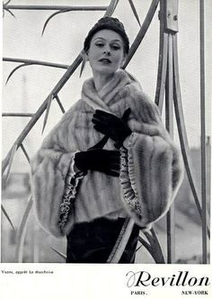 Revillon fur ad, 1950  Photo by Jacques Decaux