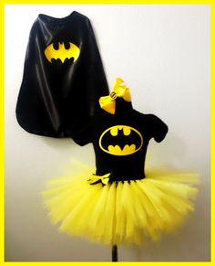 Similar Items like Batgirl inspired Tutu set and cape in yellow and black on . Ähnliche Artikel wie Batgirl inspired Tutu set and cape in yellow and black auf… Similar Items like Batgirl inspired Tutu set in yellow and black on Etsy Batman Birthday, Batman Party, Superhero Party, Batman Tutu, Batman And Batgirl, Black Batman, Carnival Costumes, Halloween Costumes, Costume Fleur