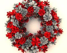 Handmade Natural Tropical Rainbow Pine Cone Wreath by EacArt