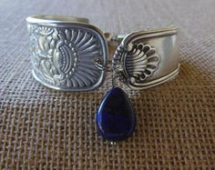 Assyrian Head Antique Spoon Bracelet 7.5 inch With Lapis Gemstone