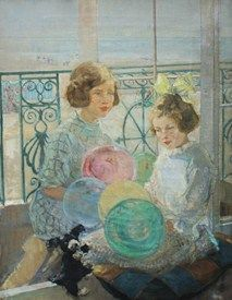 Ernest Borough Johnson (1866-1949), Playmates, oil on canvas, signed with monogram, 91cm x 72cm. Sold for £600