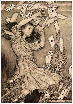 Alice in Wonderland by Arthur Rackham - 15 - At this the whole pack rose up into the air and came flying down upon her - 不思議の国のアリス - Wikipedia
