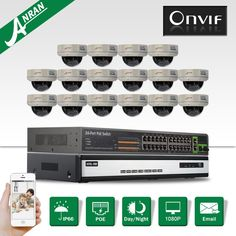 (2140.20$)  Buy here - http://aico8.worlditems.win/all/product.php?id=32796163761 - 16CH NVR 24CH POE Switch Security CCTV System+16pcs&1080P HD H.264 25fps 30IR Outdoor Vandalproof Dome POE IP Camera Kit 6TB HDD