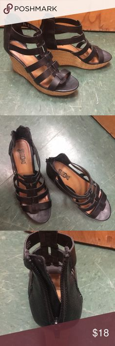 Black and Tan wedges! Super cute Black and Tan wedge heels, only worn once to my graduation. Brash Shoes Wedges