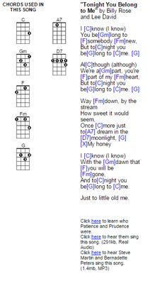 Tonight You Belong to Me - ukulele chords
