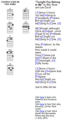 Tonight You Belong to Me - ukulele chords