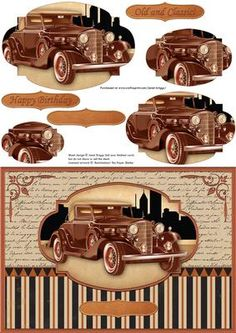 CLASSIC COPPER CAR Card Topper Pyramage on Craftsuprint designed by Janet Briggs - Vintage style card topper with 3d pyramage for added depth. Simply stack the layers from largest to smallest, with foam pads or silicone glue, to create a 3d effect.Sentiment tags for layering, include one blank. The others read Happy BirthdayOld and Classic!Suitable for male birthday, Father's Day, Retirement, Dad, Son, Husband, Grandad, Uncle, Nephew, Brother etc. - Now available for download!