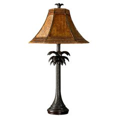 "StyleCraft Palm Tree 26"" H Table Lamp with Bell Shade"