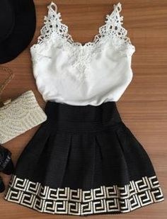 Love the Lace Top! Stylish Black and White Plunging Neck Sleeveless Applique Tank Top + Printed Greek Key Pattern Skirt Summer Twinset #Black #White #Summer #Outfit #Ideas
