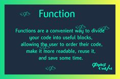Functions are a convenient way to divide your code into useful blocks, allowing the user to order their code, make it more readable, reuse it, and save some time. Also, functions are a key way to define interfaces so programmers can share their code. Python, Reuse, Software, Divider, Coding, Key, How To Make, Unique Key, Room Screen