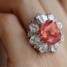 While in Paris, I discovered this #treasure - a #padparadscha #sapphire #ring with #diamonds in the brand new #DavidMorris boutique on rue St Honoré. @davidmorrisjeweller #raregem #incrediblegem #gemstone #ichoosefinejewels #katerinaperez #highjewelry #highjewellery #hautejoaillerie #hautejoaillerieweek #hautejoaillerieparis