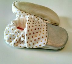 Gold metallic dot with champagne leather toe baby moccs/ baby booties/ baby shoes/soft soled shoes/toddler shoes