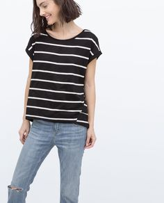 Image 1 of ROLL-UP SLEEVE T-SHIRT from Zara
