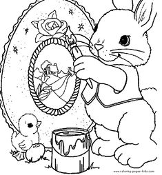 Easter Bunny Painting an Easter egg. Easter color page, holiday coloring pages, color plate, coloring sheet,printable color picture