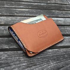 GARNY - tarjeta y dollar bill caso No.9 / cartera simplificado de whisky color cuero - bl