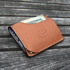 GARNY - Card and dollar bill case No.9 / Simplified wallet from whiskey color leather -bl on Etsy, $99.16 CAD-SR