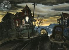 Preston Blair - Bunker Hill Cable Car, 1938 - California art - fine art print for sale, giclee watercolor print - Californiawatercolor.com
