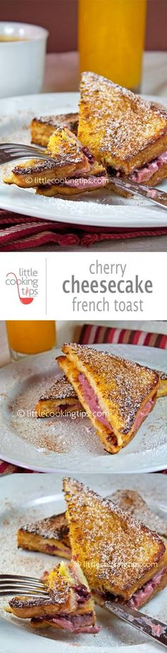 """A delicious idea for breakfast. This an ideal recipe for Valentine's and anniversaries; A juicy, rich and yummy French toast filled cherry """"cheesecake"""" cream. Easy to make yet so fancy!   Repin to your own inspiration board! #breakfast #recipe #cheesecake #French #toast"""