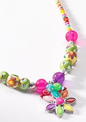 Hippy Necklace~Bohemain Multi Coloured Flower Necklace Beaded Daisy Necklace~Fair Trade By Folio Gothic Hippy NK482