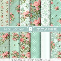 Teal Digital Paper, Vintage Roses Shabby Chic Digital Paper Pack, Wedding, Scrapbooking, Pink Vintage Roses - INSTANT DOWNLOAD  - 1877