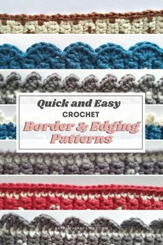 Looking for a quick and easy border for your crochet project? Take a look at this collection of crochet borders and edgings in just 2 rows! #scallop #shell #picot #singlecrochet #dropstitch #crabstitch #blanket #potholder #spaset Diy Crochet Edging, Picot Crochet, Crochet Border Patterns, Crochet Blanket Border, Crochet Boarders, Quick Crochet, Manta Crochet, Crochet Crafts, Crochet Edges For Blankets