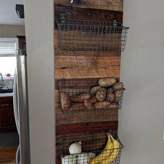 #diy produce basket. Great idea for kitchen storage and organization.
