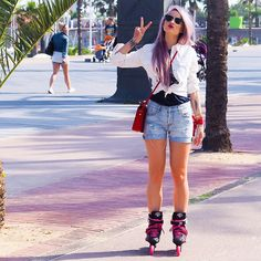 When in Barcelona...rollerblading near the sea in all Levis clothing